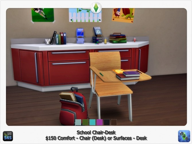 School chair desk by d4s at sims 4 studio sims 4 updates for Furniture 4 schools