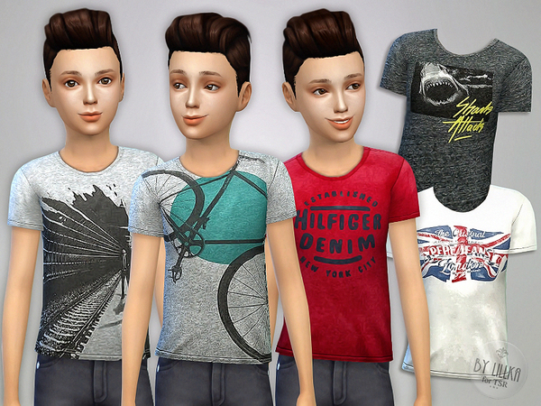 Sims 4 T  Shirt Collection for Boys P07 by lillka at TSR