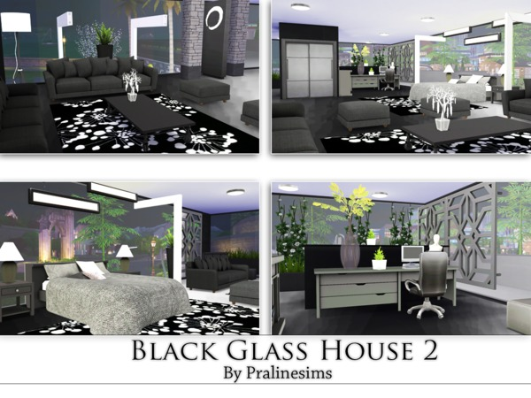Sims 4 Black Glass House 2 by Pralinesims at TSR