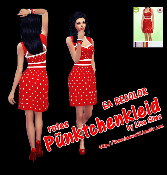 Sims 4 Dotted red dress at Lisa Sims