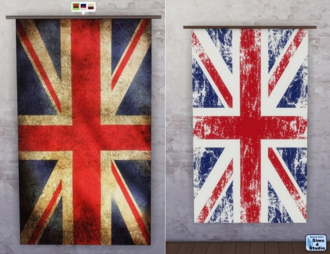 Sims 4 Union Jack wall flag at Sims 4 Studio