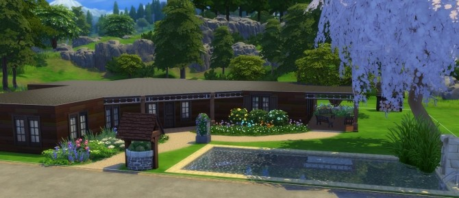 Sims 4 Single level Ranch home by EmpathLunabella at Mod The Sims
