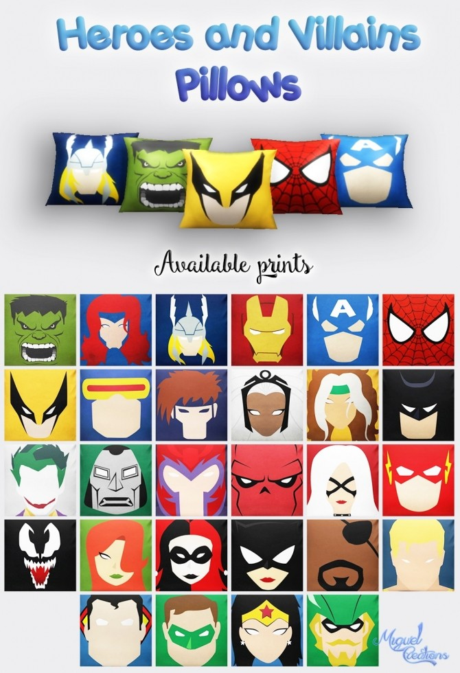 Sims 4 Heroes and Villains pillows at Victor Miguel