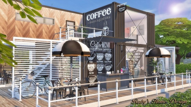 container coffee shop at rubys home design - Sims 4 Home Design