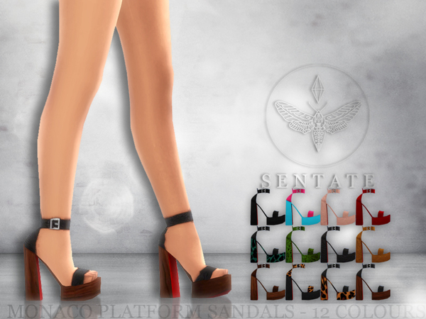 Sims 4 Monaco Platform Sandals by Sentate at TSR