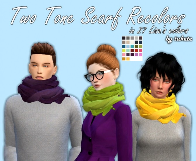 Sims 4 Two Tone Scarf Recolors at Tukete