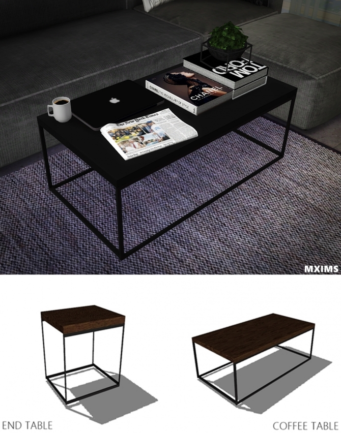 Industrial Coffee Table Amp End Table At Maximss 187 Sims 4