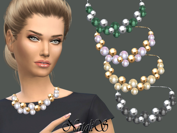 Giant pearls and beads necklace by NataliS at TSR image 1811 Sims 4 Updates