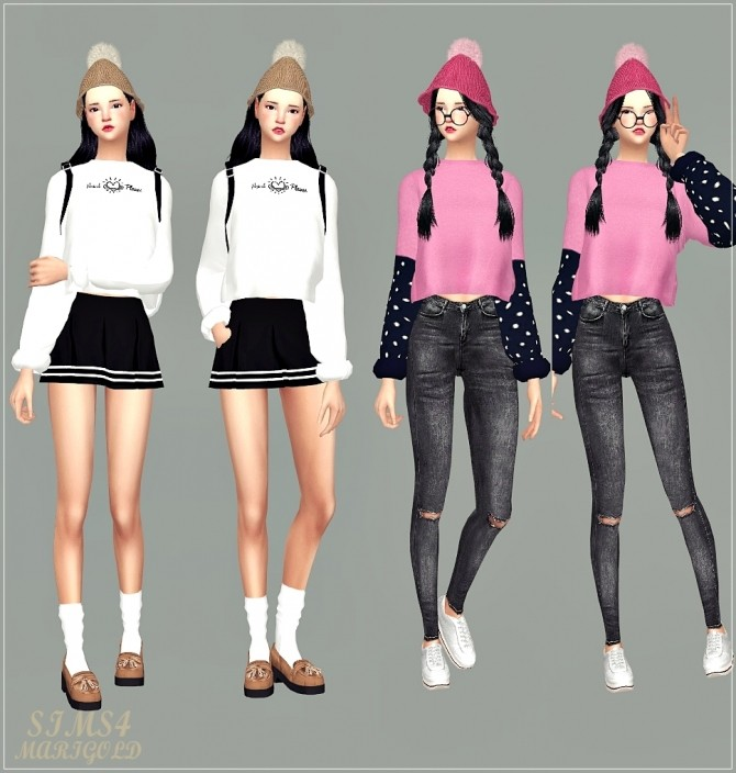 PomPom Knit Cone Beanie at Marigold image 1985 670x704 Sims 4 Updates