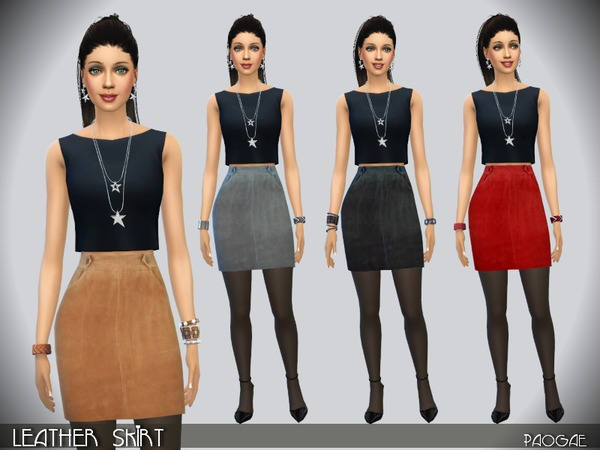 Sims 4 Leather skirt by Paogae at TSR
