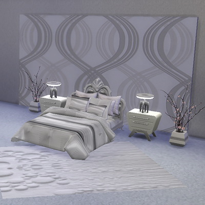 Sims 4 White satin duvet set at Trudie55