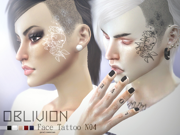 Oblivion Face Tattoo N04 By Pralinesims At Tsr 187 Sims 4