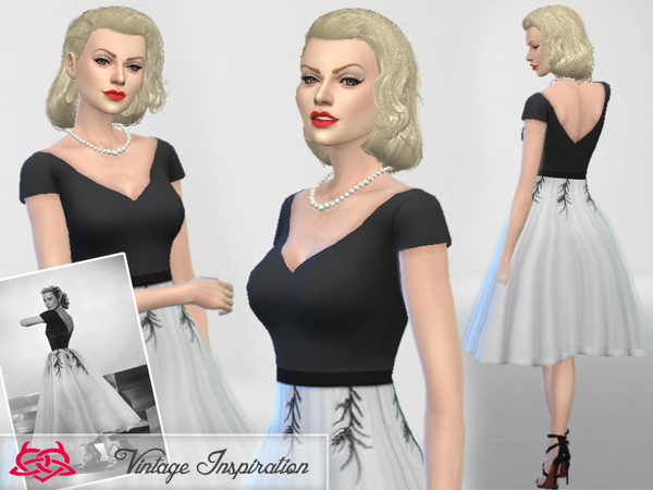 Sims 4 Set hair/dress Grace Kelly by Colores Urbanos at TSR