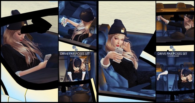 Sims 4 Car Related Poses Set pt1: Drive Far Poses Set at Flower Chamber