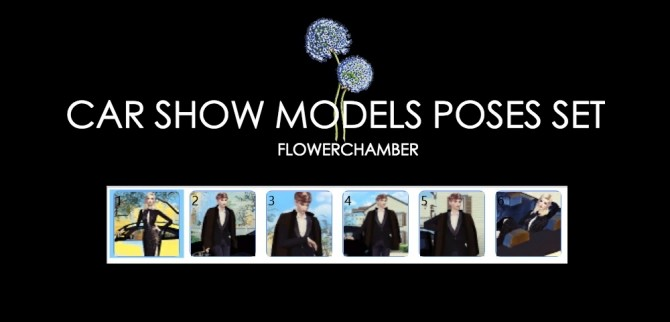 Sims 4 Car Related Poses Set pt2: Car Show Models Poses Set at Flower Chamber