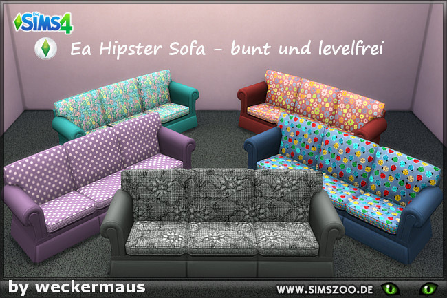 Sims 4 EA hipster sofa recolors with  pattern by weckermaus at Blacky's Sims Zoo