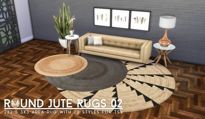 Round Jute Rugs 02 at Simsational Designs image 2302 670x389 Sims 4 Updates