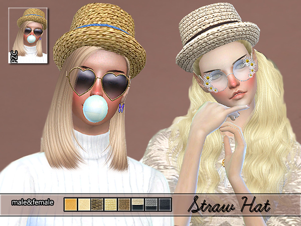Sims 4 PZC Straw Hat by Pinkzombiecupcakes at TSR