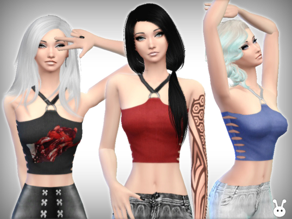 Broken Crop Top by XxNikkibooxX at TSR image 2312 Sims 4 Updates