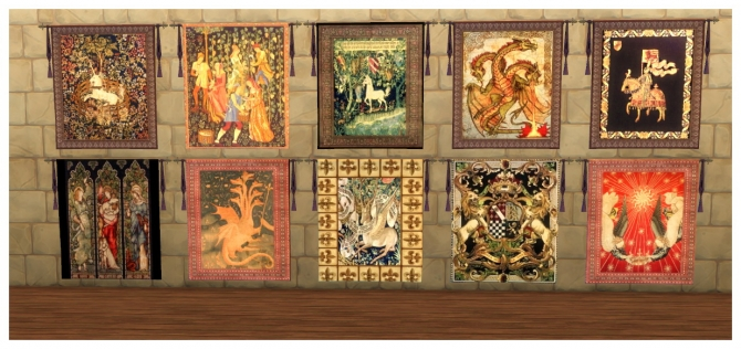 73 Medieval Wall Tapestries At Simdoughnut 187 Sims 4 Updates
