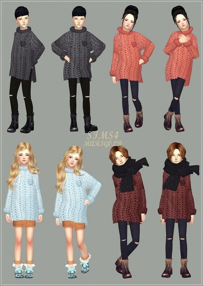 Child Long Sweater At Marigold 187 Sims 4 Updates