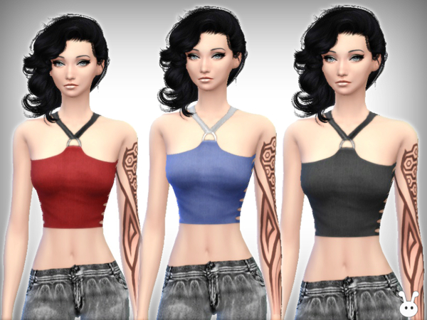 Broken Crop Top by XxNikkibooxX at TSR image 2512 Sims 4 Updates