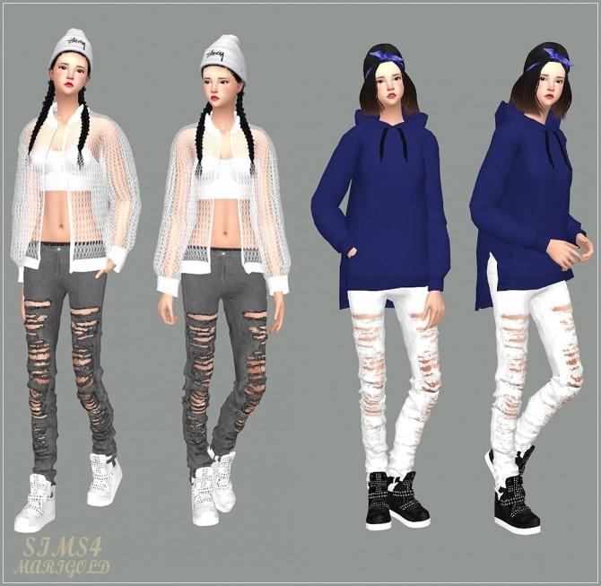 Sims 4 Ripped Pants Skinny Fit at Marigold