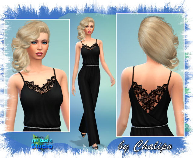 Jumpsuit with lace by Chalipo at All 4 Sims image 2646 Sims 4 Updates