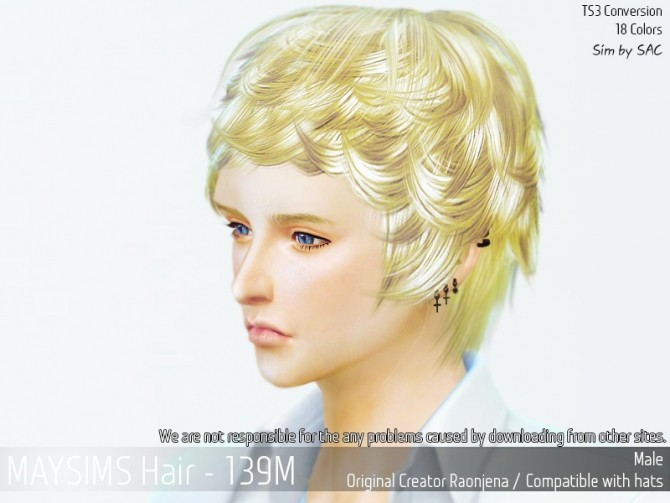 Sims 4 Hair 139M (Raonjena) at May Sims