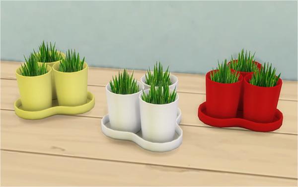 Sims 4 IKEA BLADET 3 plant pots with 1 tray 2t4 redo at Veranka