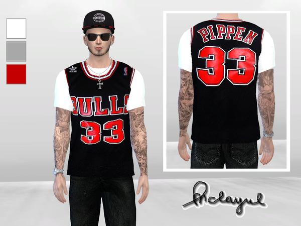 Sims 4 NBA Jersey Bulls With Shirt by McLayneSims at TSR
