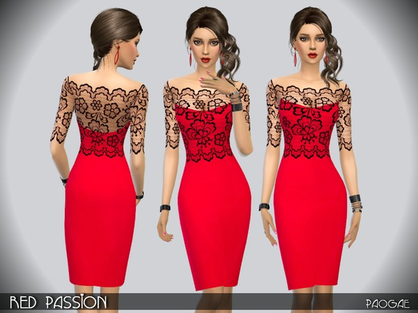 Sims 4 Red Passion dress by Paogae at TSR