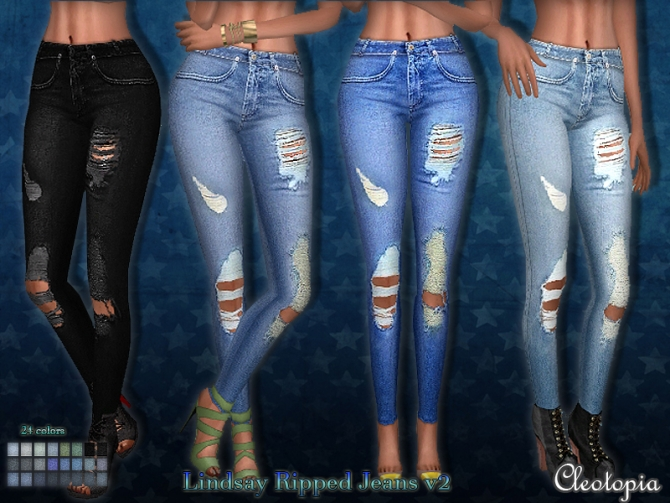 Lindsay Ripped Jeans V2 At Cleotopia 187 Sims 4 Updates