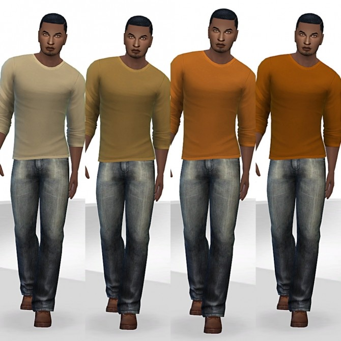 Sims 4 Pushed up sleeve shirt recolors at Tacha 75