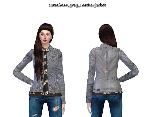NewYear grey leather jacket by sweetsims4 at TSR image 29 Sims 4 Updates