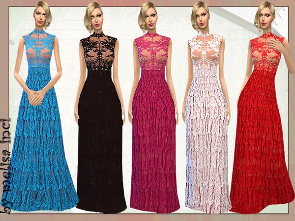 Sims 4 Lace Ruffle Maxi Dress by melisa inci at TSR