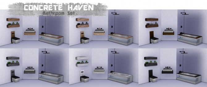 Sims 4 Concrete Haven Bathroom Set at THINGSBYDEAN