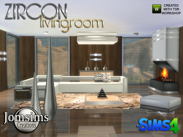 Zircon modern living room by jomsims at tsr sims 4 updates for Modern living room sims 4