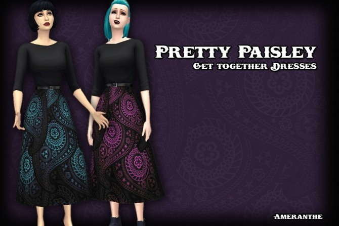 Sims 4 Pretty Paisley Dresses at Ameranthe – Camera Obscura