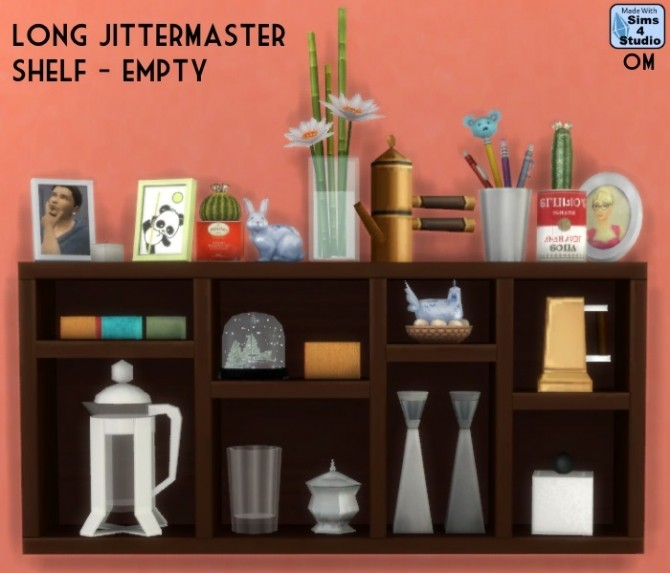 Sims 4 Long Jittermaster shelf empty at Sims 4 Studio