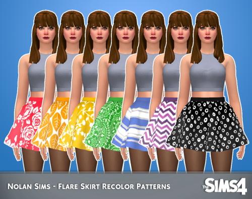 Sims 4 Flare skirt recolors at Nolan Sims