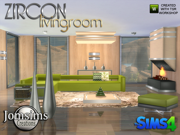 Sims 4 Zircon Modern Living Room by jomsims at TSR