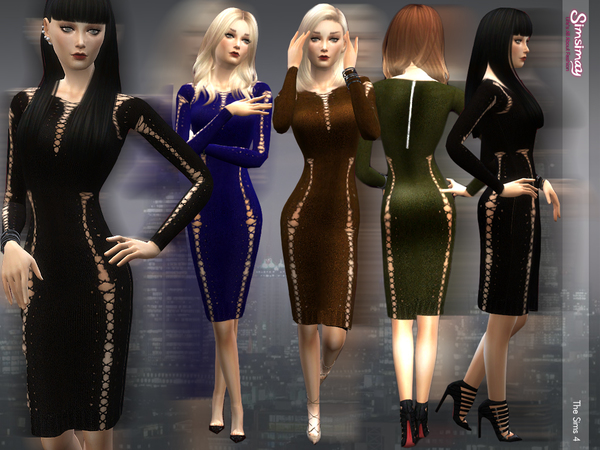 Lace up Knit Dress by Simsimay at TSR image 3524 Sims 4 Updates