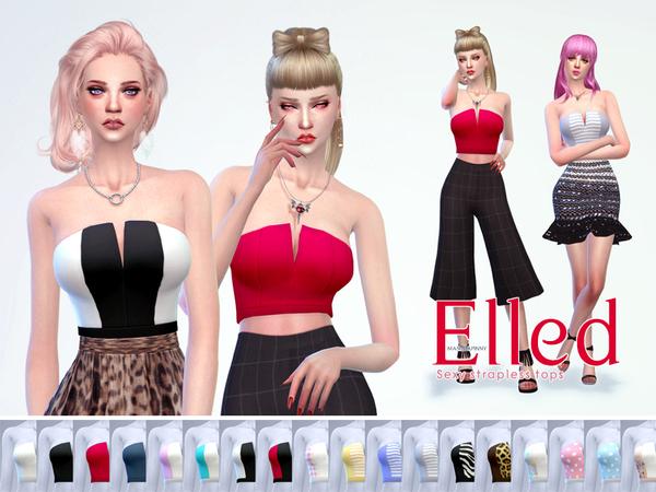 Sims 4 manueaPinny Elled top by nueajaa at TSR