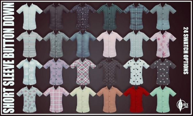 Sims 4 Child Short Sleeve Button Down Shirt at Onyx Sims
