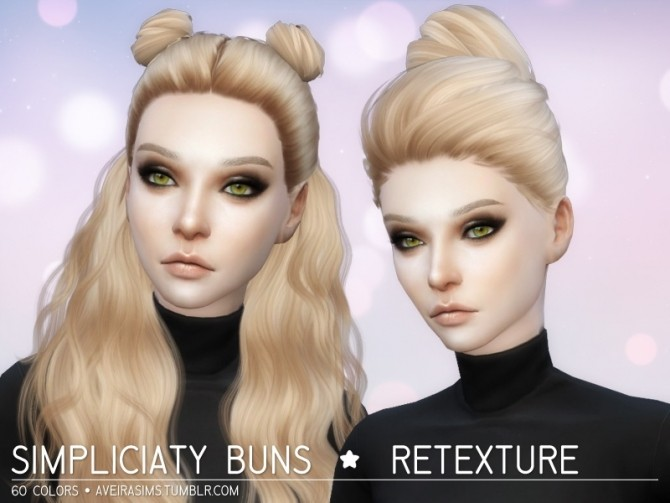 Hairstyles Updates: Simpliciaty Buns Retexture At Aveira Sims 4 » Sims 4 Updates