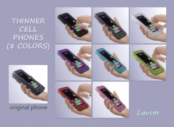 Sims 4 Thinner Cell Phones Default Replacements by lavsm at Mod The Sims