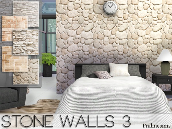 Sims 4 Stone Walls 3 by Pralinesims at TSR