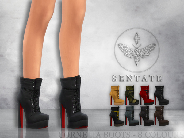 Sims 4 Cornelia Boots by Sentate at TSR