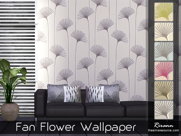 Sims 4 Fan Flower Wallpaper by Rirann at TSR